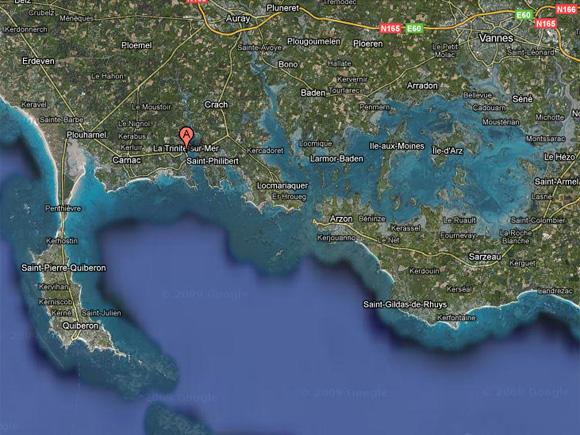 Carte de la baie de Quiberon - Google Maps 2010