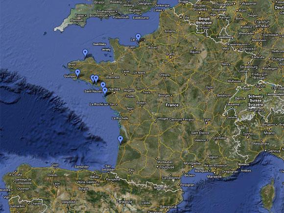 Carte Google de la saison 2010 du Requin